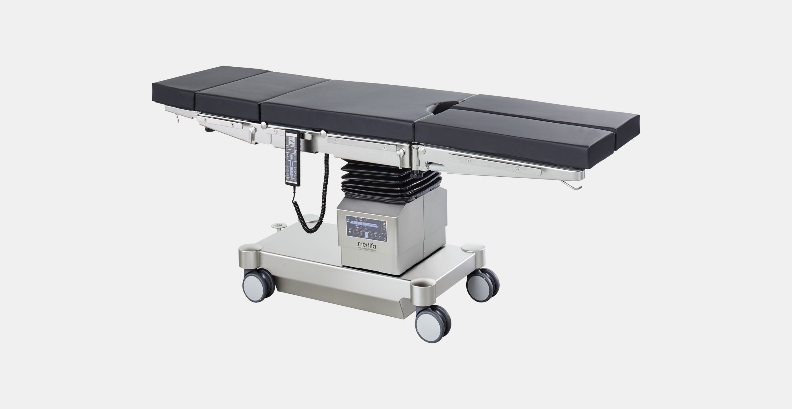 Mobile operating table with two electrohydraulical adjustable joints and longitudinal sliding medifa 6000